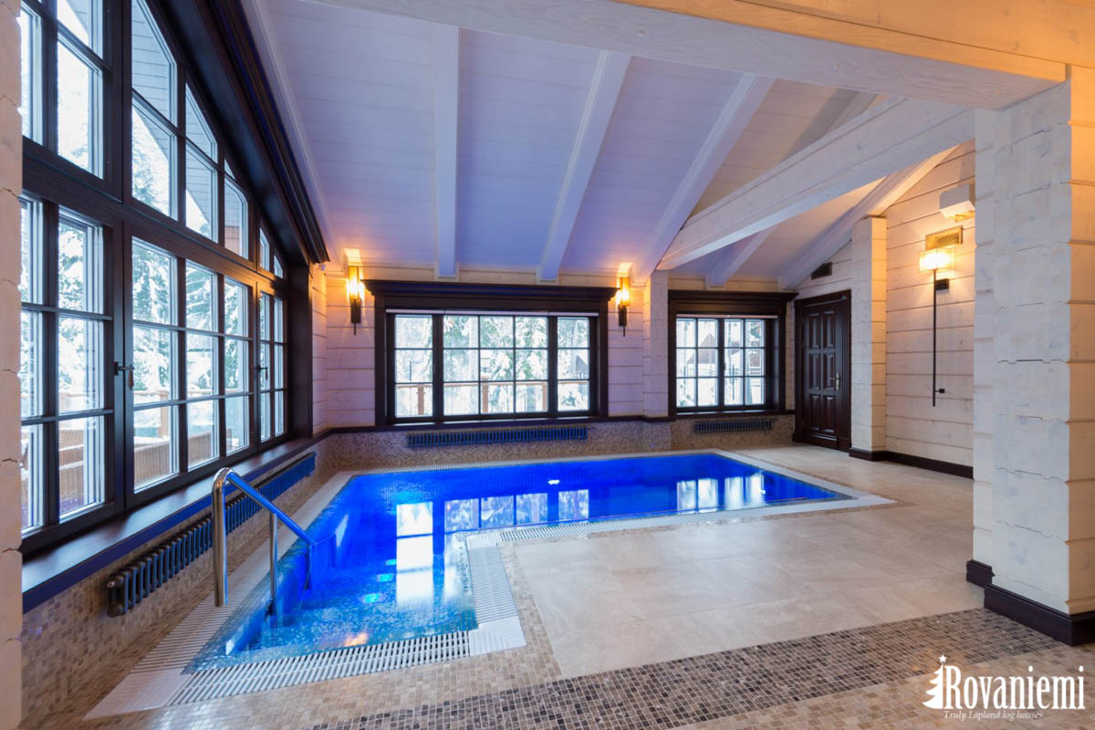 Spa Blockhaus Modell Aura mit Schwimmbecken aus Finnland.