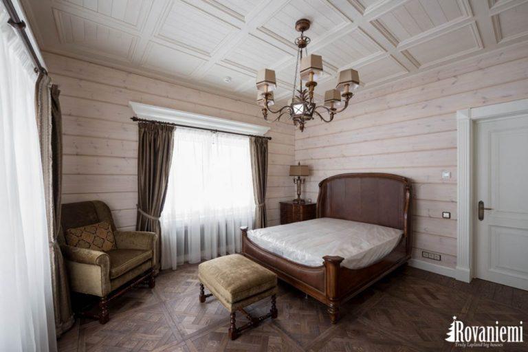 Chambre a dormir dans chalet Helios – Rovaniemi maison en bois.