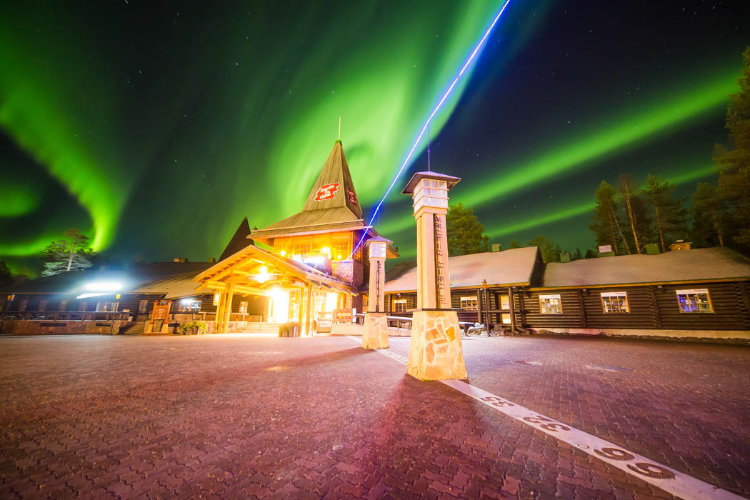 Northern Lights over Santa Claus Village in Rovaniemi