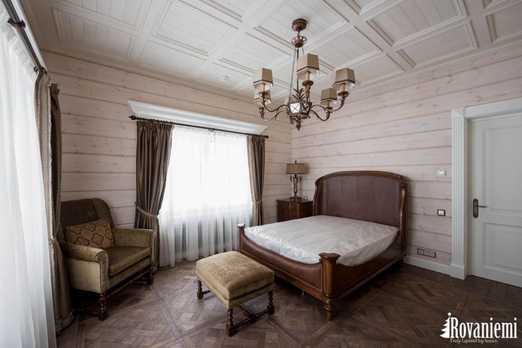 Schlafzimme Finnisches Luxus Holzhaus Modell Helios –Rovaniemi Blockhäuser.