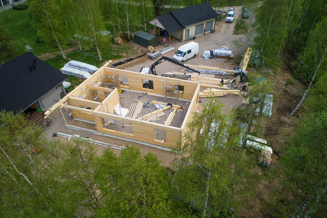 Modern log house construction site in the middle of the city of Rovaniemi