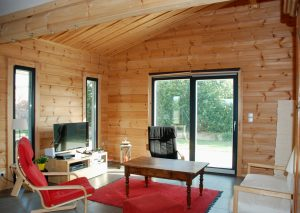 Inside an ecological wooden home made by Aito Log House in Finland