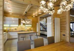 Inside a Scandinavian style luxury log home made by Aito Log Houses in Finland