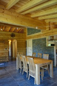 Inside an ecological wooden home in France provided by Aito Log Houses