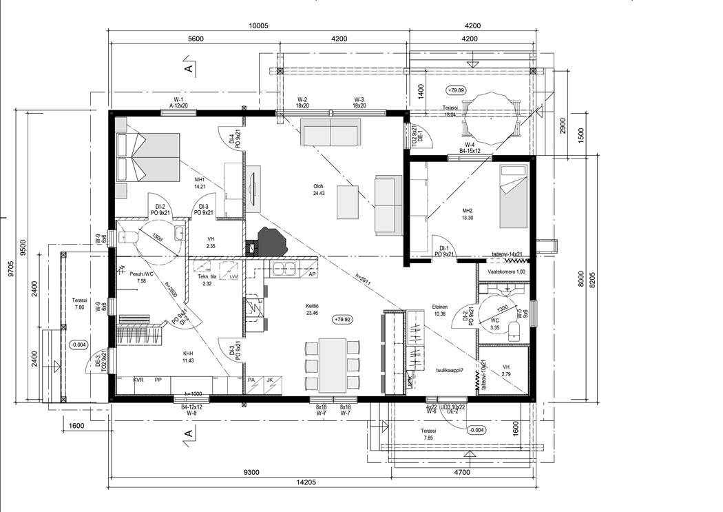 Floor plan of the cosy wooden cottage by Rovaniemi Log House.