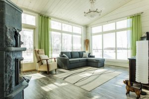 Ouluun rakennettu Rovaniemi Hirsitalojen puutalo sisältä