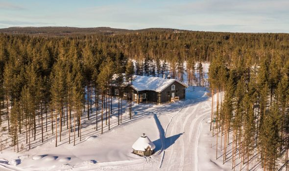 Safari house is waiting its guests in the woods near Rovaniemi Lapland Finland.