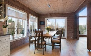 Inside a log home by Aito Log Houses from Finland