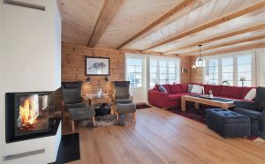 Cozy atmosphere of a log home made by Aito Log Houses in Finland